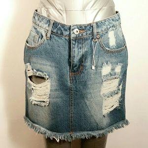 🐞Nwot~Timing Denim Collection Jean Skirt